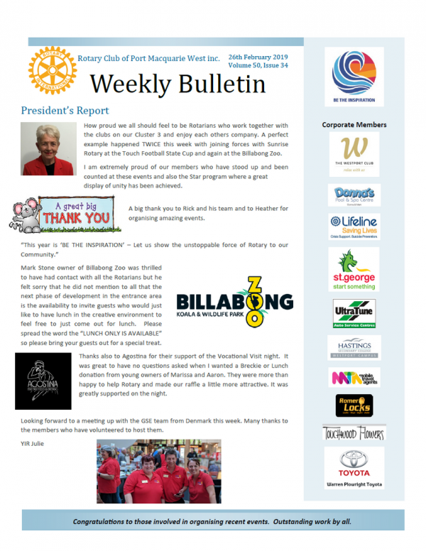 Port West Rotary Bulletin - Issue 34